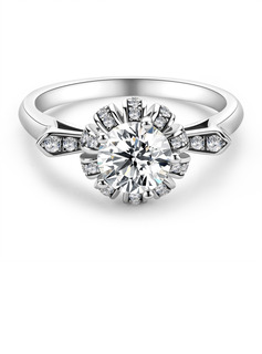 Side Stones Vintage Round Cut 925 Silver Engagement Rings