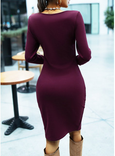 Solid Bodycon Square Neck Long Sleeves Midi Casual Pencil Dresses