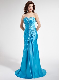Trumpet/Mermaid Sweetheart Sweep Train Charmeuse Prom Dresses With Ruffle Beading Sequins