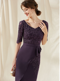 Sheath/Column V-neck Knee-Length Lace Stretch Crepe Cocktail Dress With Beading