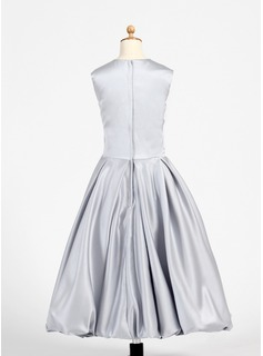 A-Line/Princess Tea-length Flower Girl Dress - Charmeuse Sleeveless Scoop Neck With Embroidered