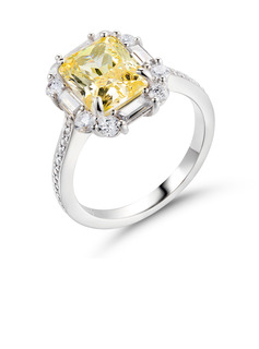 Halo Citrine Yellow 925 Silver Engagement Rings