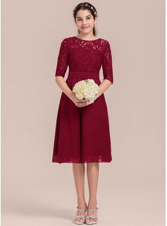 A-Line Scoop Neck Knee-Length Chiffon Junior Bridesmaid Dress