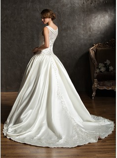 Ball-Gown V-neck Chapel Train Satin Wedding Dress With Embroidered Beading Sequins