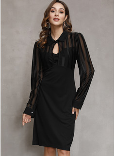 High Neck Long Sleeves Midi Dresses