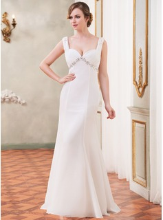 Trumpet/Mermaid Sweetheart Watteau Train Chiffon Wedding Dress With Ruffle Lace Beading Sequins