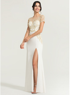 Sheath/Column Scoop Neck Floor-Length Stretch Crepe Wedding Dress With Split Front