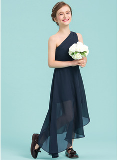 A-Line One-Shoulder Asymmetrical Chiffon Junior Bridesmaid Dress With Ruffle