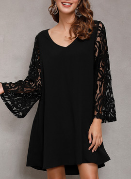 Polyester With Lace/Solid Above Knee Dress (199228774)