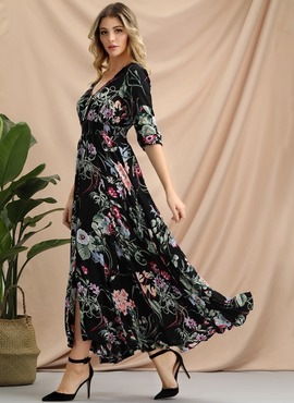Cotton With Print Maxi Dress (199206857)