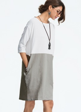 Linen With Stitching Above Knee Dress (199173919)
