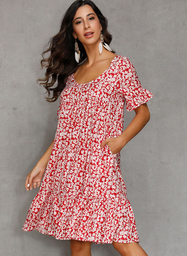 Cotton Blends With Print Knee Length Dress (199228948)