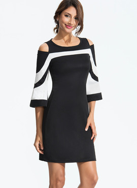 Polyester With Stitching Above Knee Dress (199173811)