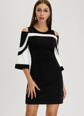 Polyester With Color-block Above Knee Dress (199206827)