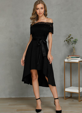 Spandex/Chinlon/Viscose With Lace/Solid Asymmetrical Dress (199222850)