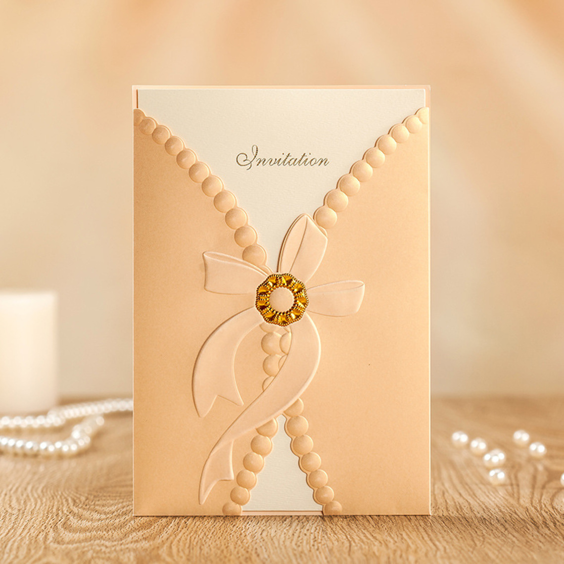 Personalized Classic Style Modern Style Wrap Pocket Invitation Cards Set Of 50 114188088