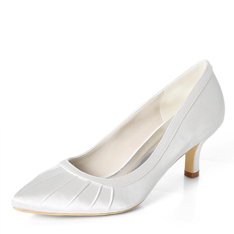 Women's Silk Like Satin Stiletto Heel Pumps With Ruffles