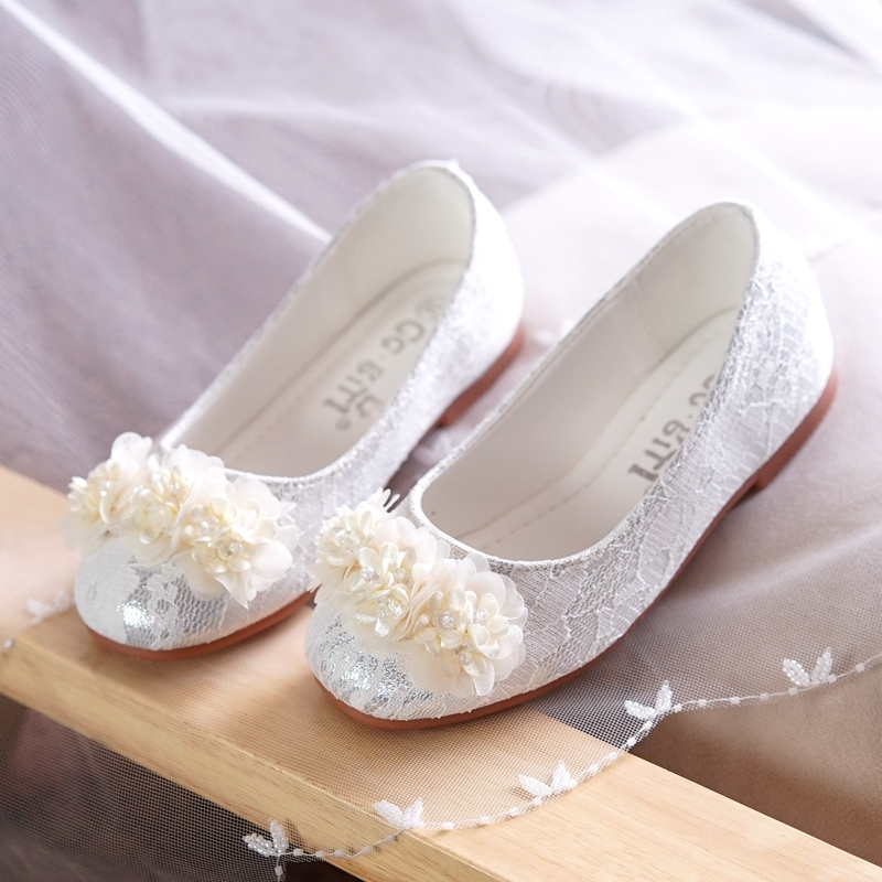 Girl's Closed Toe Lace Flat Heel Flats Flower Girl Shoes With Beading Flower