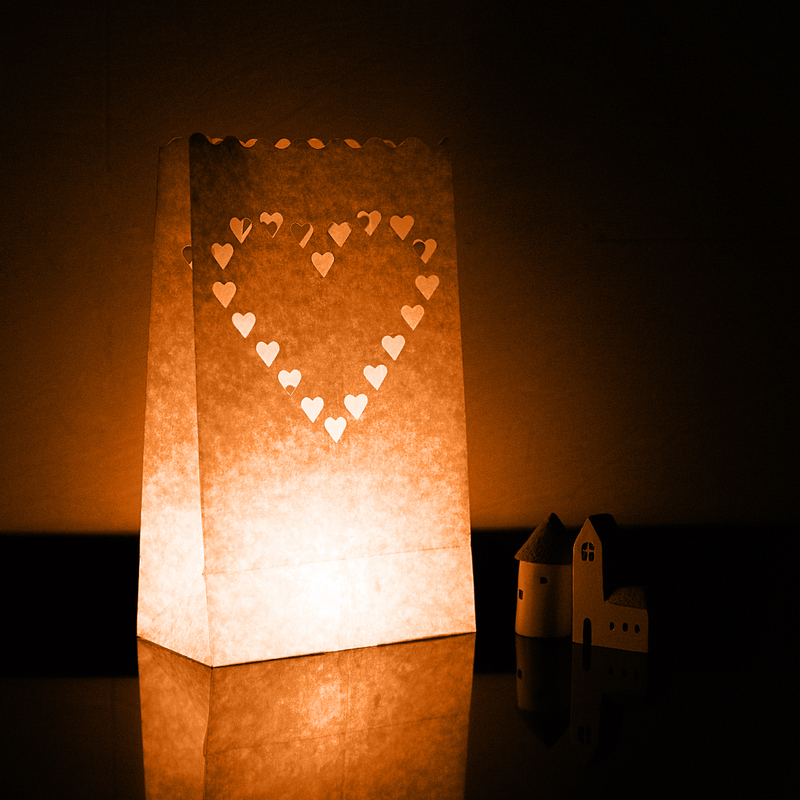 Heart Design Paper Luminary (set of 4)