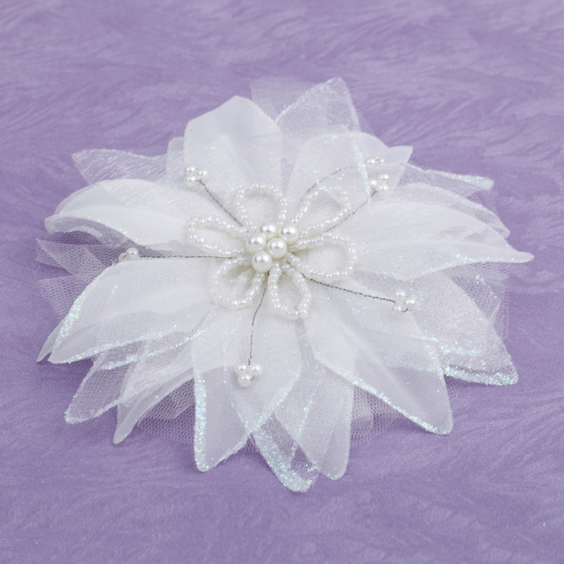 Elegant Artificial Silk Flowers & Feathers With Venetian Pearl