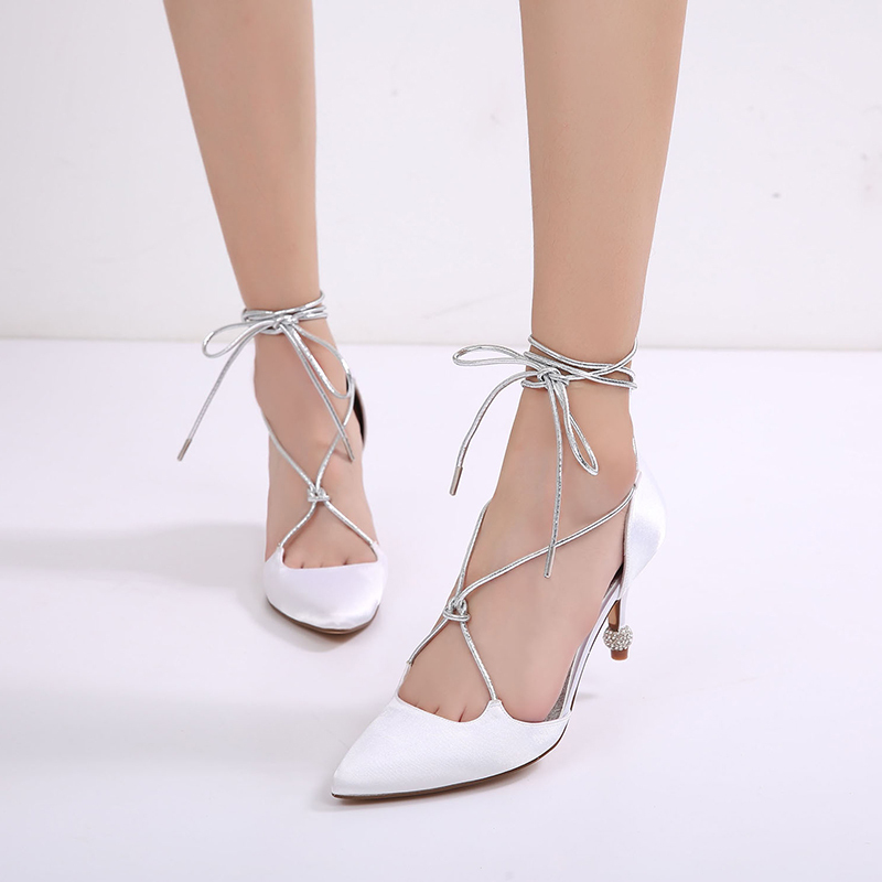Women's Silk Like Satin Stiletto Heel Pumps Sandals With Buckle Lace-up