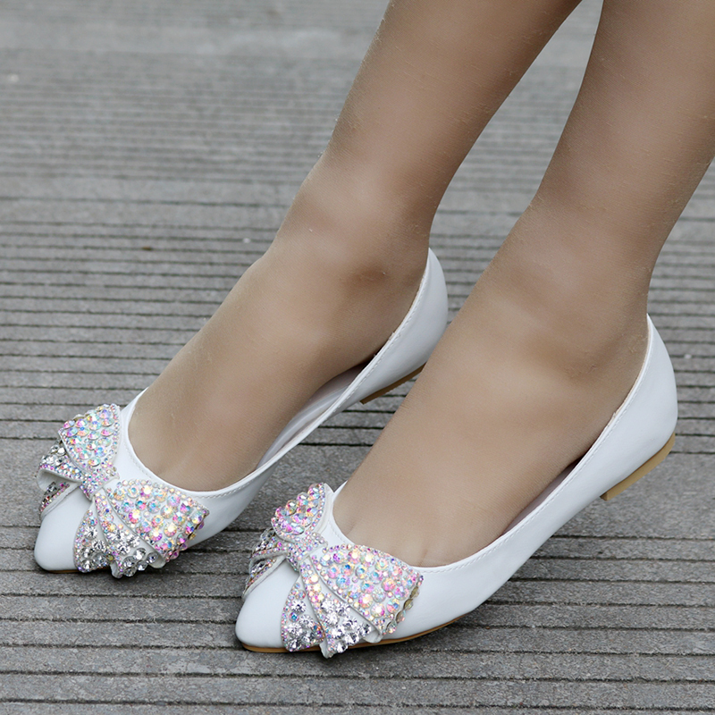 Women's Leatherette Flat Heel Closed Toe Flats With Bowknot Rhinestone