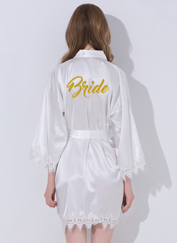 Lace Bride Lace Robes Glitter Print Robes