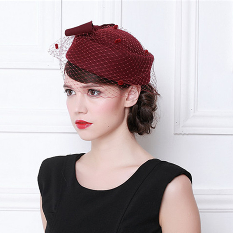 Ladies' Elegant/Unique Wool With Tulle Beret Hats
