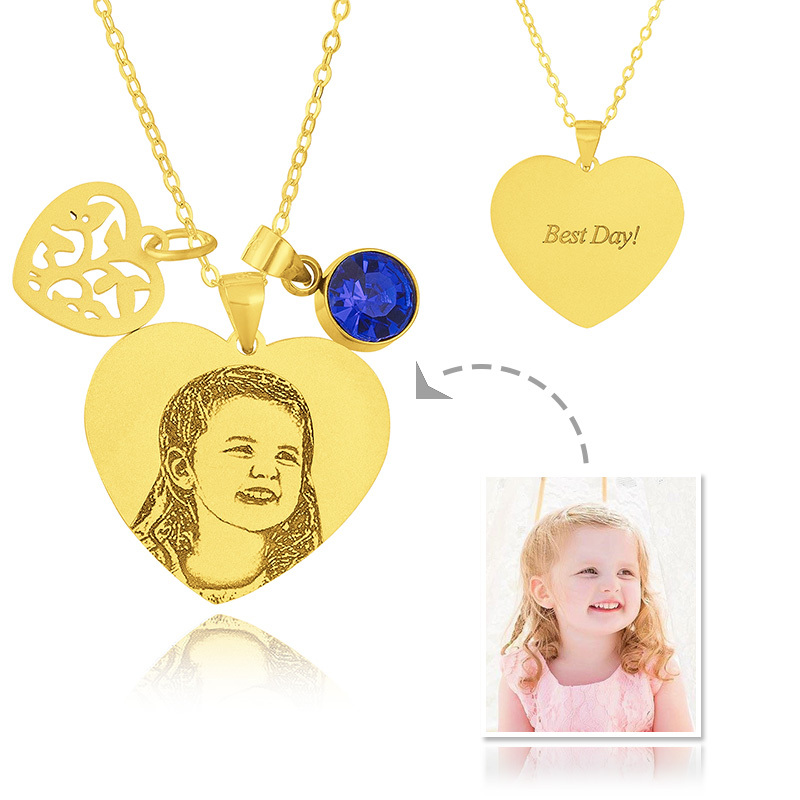 Custom 18k Gold Plated Silver Heart Black And White Photo Engraved Heart Necklace Birthstone Necklace Engraved Necklace Photo Necklace With Birthstone Leaf - Birthday Gifts