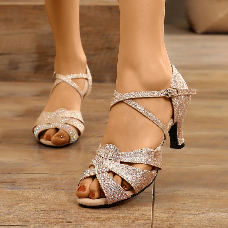 Women's Sparkling Glitter Sandals Latin Modern With Rhinestone Dance Shoes