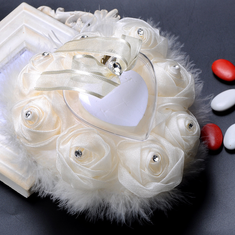 Lovely Rose Ring Pillow in Cloth With Rhinestones/Feather/Flowers/Lace