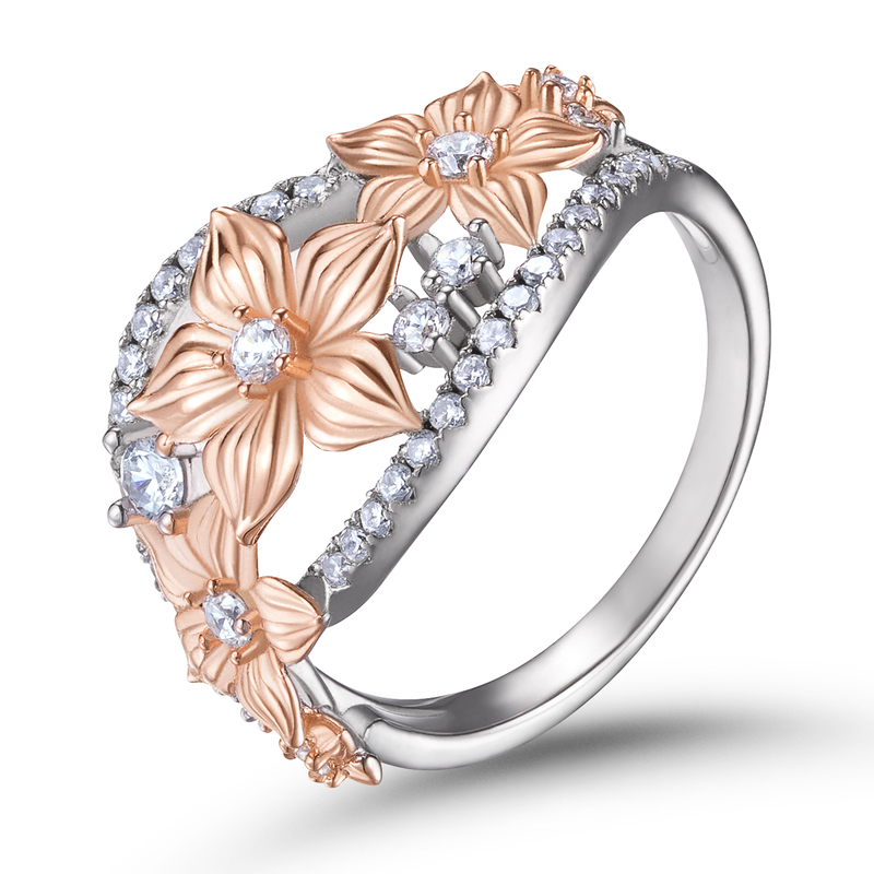 Floral Two Tone Round Cut 925 Silver Women's Bands