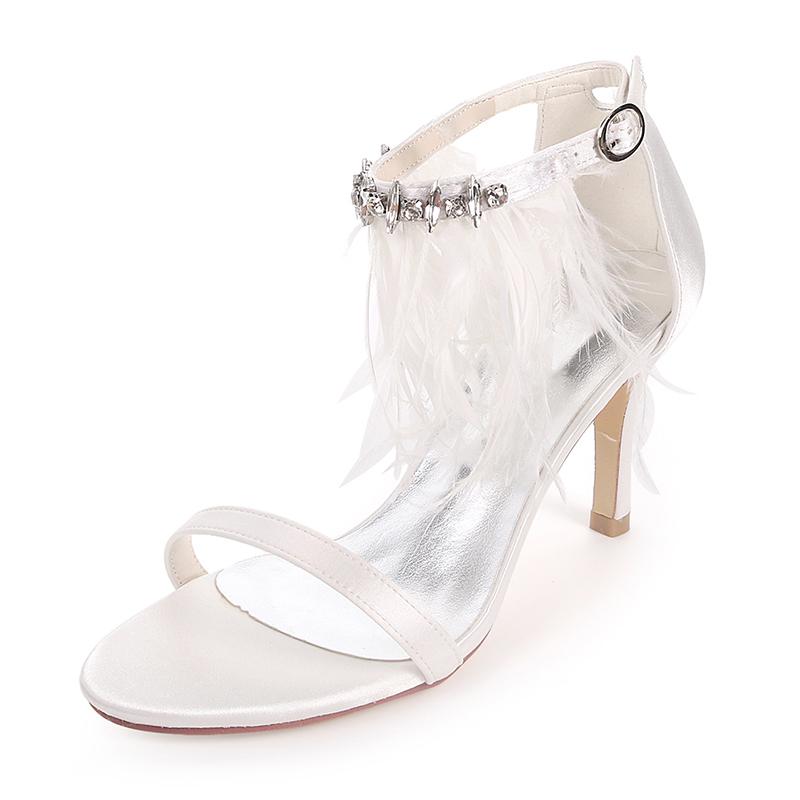 Women's Silk Like Satin Stiletto Heel Pumps Sandals With Feather Rhinestone