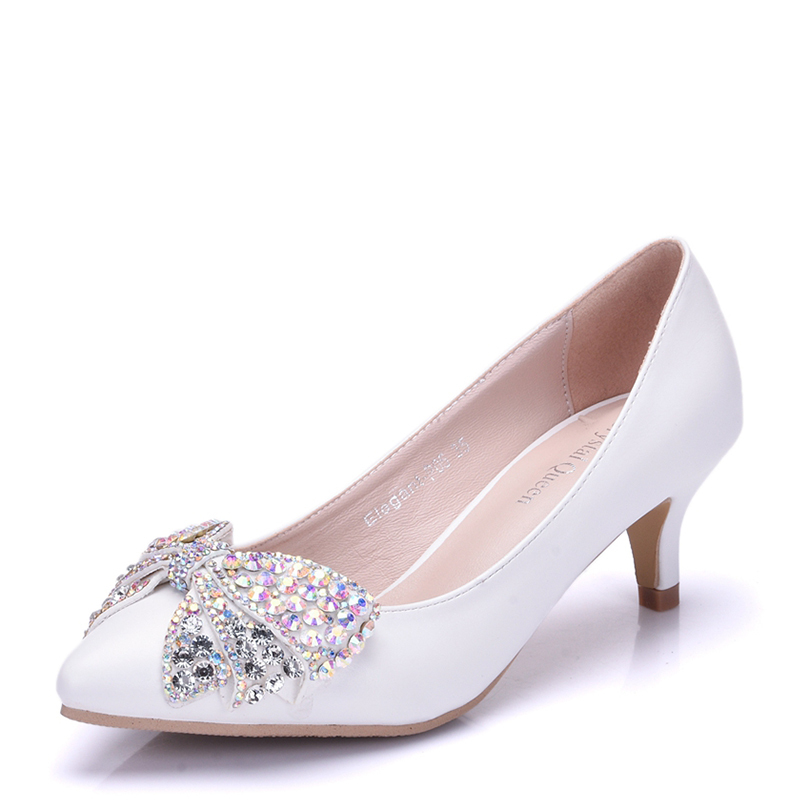Women's Leatherette Stiletto Heel Closed Toe Pumps With Bowknot Rhinestone