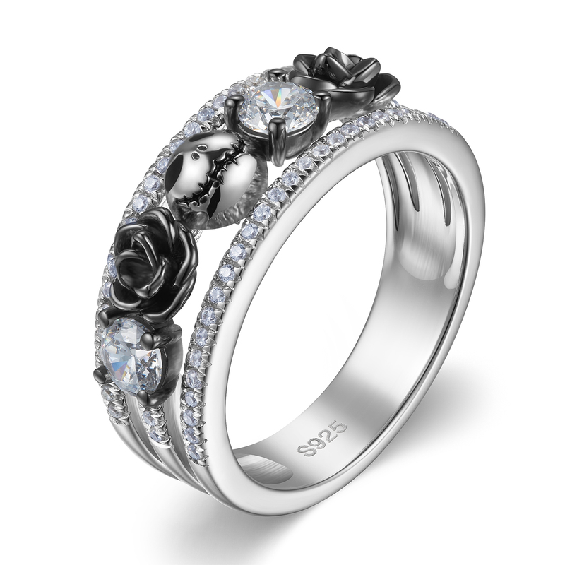Floral Round Cut 925 Silver Promise Rings