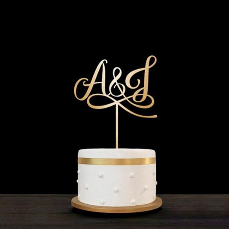 Personalized Bride And Groom Wooden Cake Topper