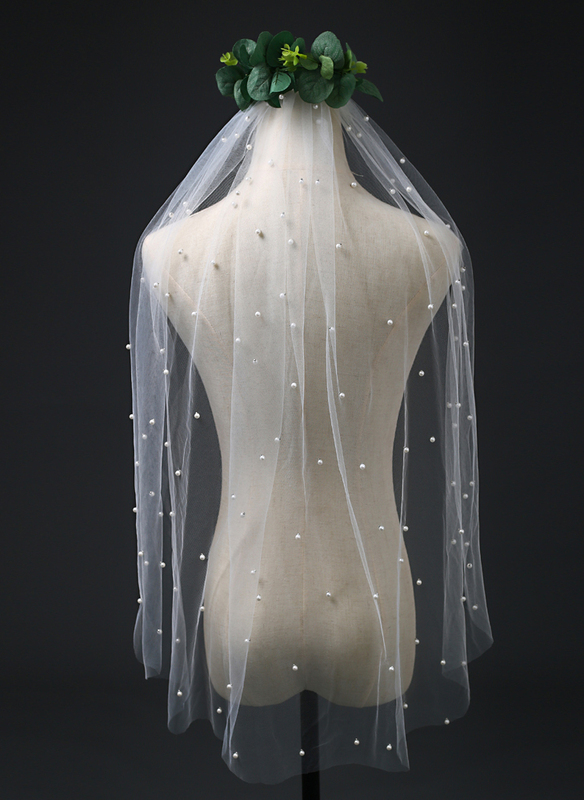 One-tier Cut Edge Elbow Bridal Veils With Faux Pearl