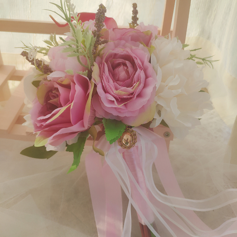Classic Hand-tied Satin/Ribbon/Emulational Berries/Rhinestone/Silk Flower/Artificial Flower Bridal Bouquets/Bridesmaid Bouquets (Sold in a single piece) - Bridal Bouquets/Bridesmaid Bouquets