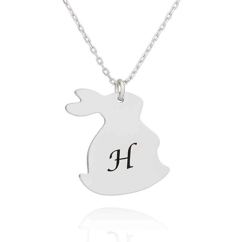 Custom Silver Bunny Initial Necklace - Birthday Gifts Mother's Day Gifts