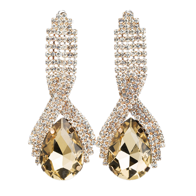 Classic Alloy Rhinestone Earrings For Bride