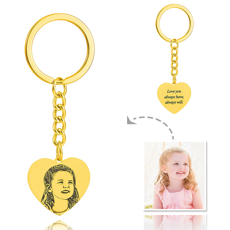 Bride Gifts - Personalized Photo Engraved Black And White Heart Sterling Silver 18k Gold Plated Keychains