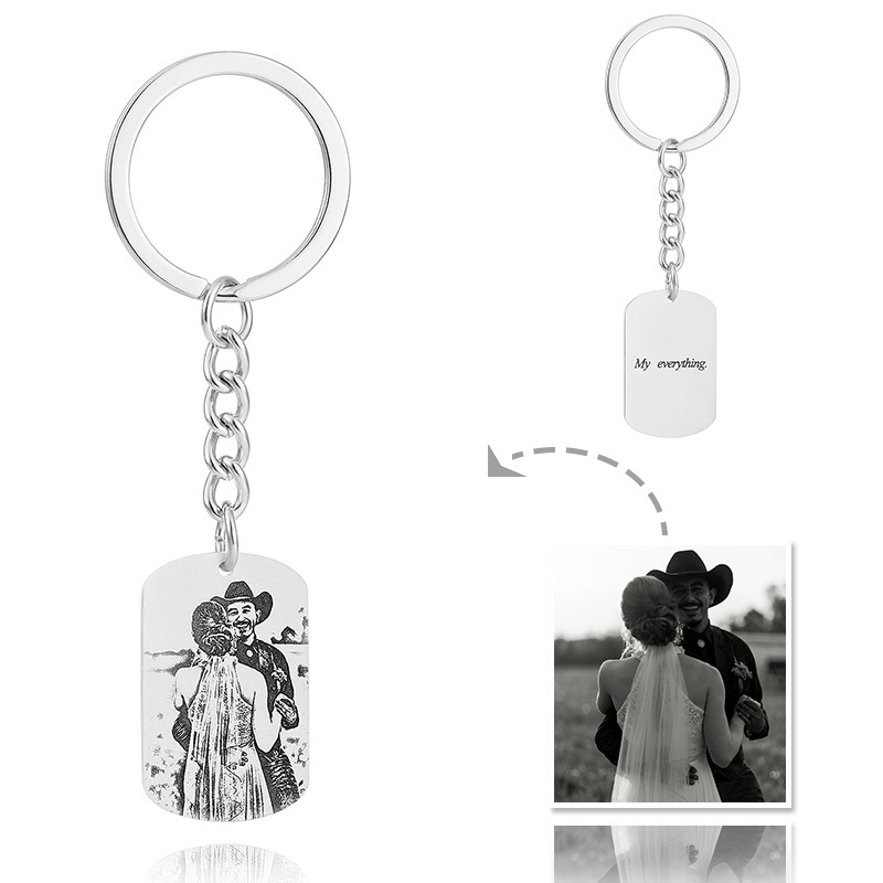 Groomsmen Gifts - Personalized Photo Engraved Black And White Platinum Plated Sterling Silver Keychain