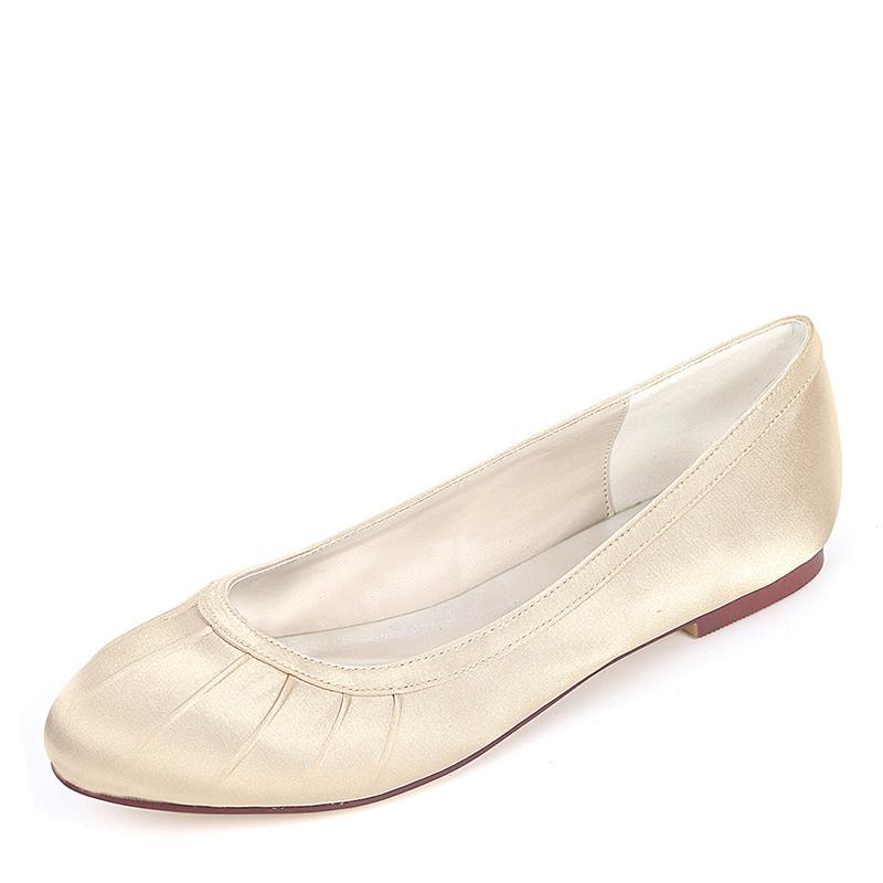 Women's Silk Like Satin Flat Heel Flats With Ruffles