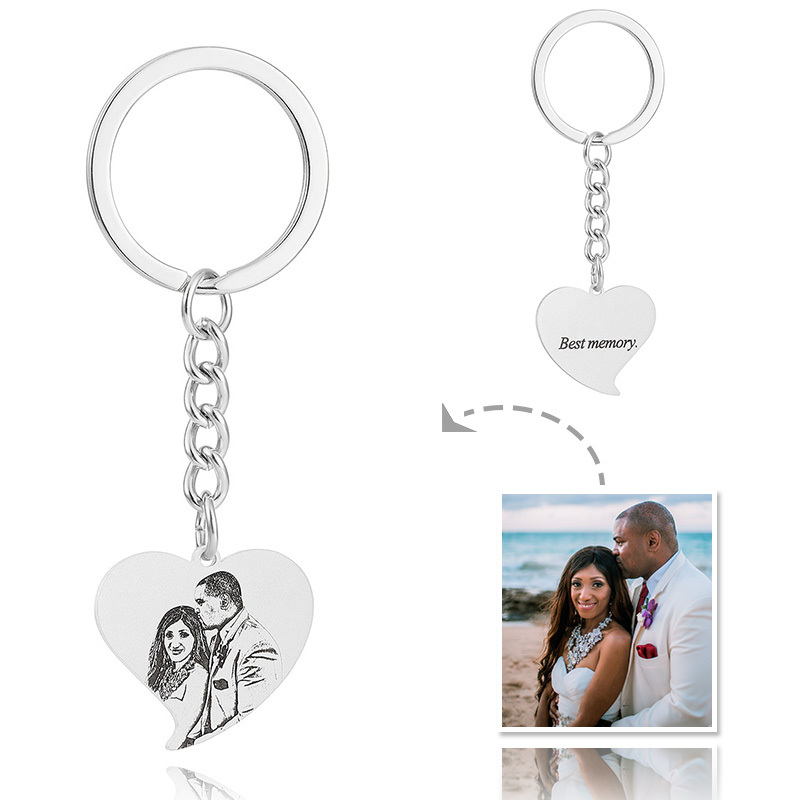 Bride Gifts - Personalized Photo Engraved Black And White Heart Sterling Silver Platinum Plated Keychains