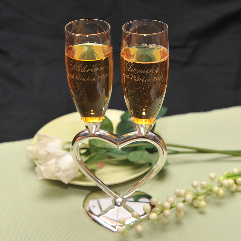 Personalized Heart design Zinc Alloy/Glass Toasting Flutes (Set of 2)