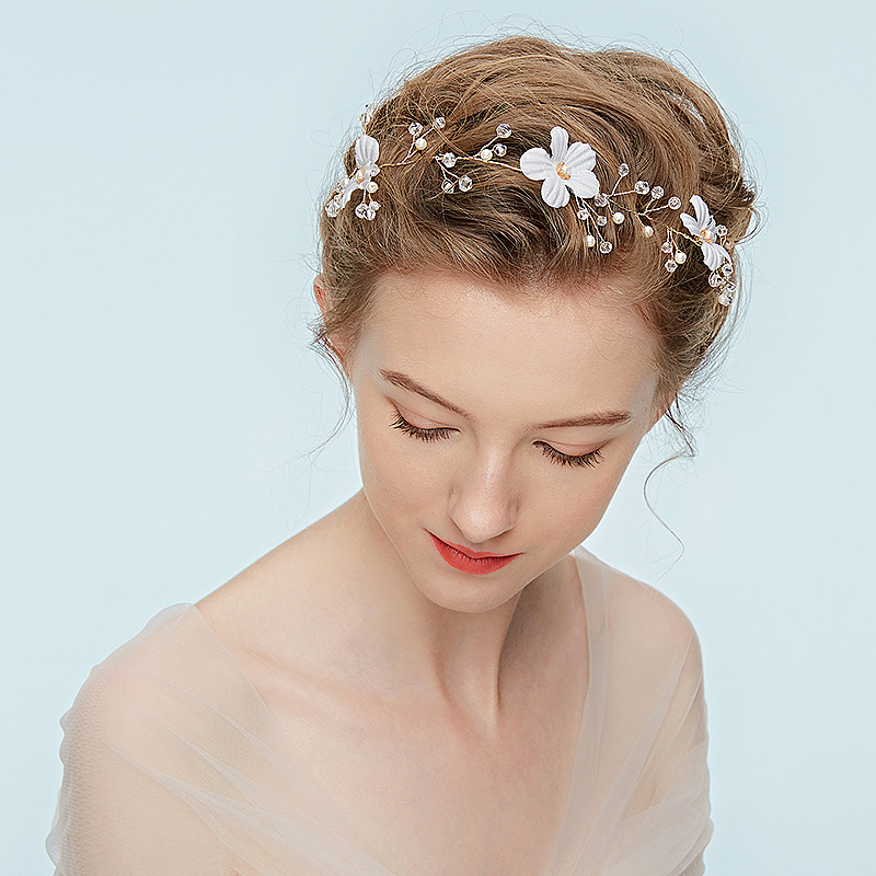 Ladies Charming Alloy Headbands With Rhinestone/Venetian Pearl (Sold in single piece)