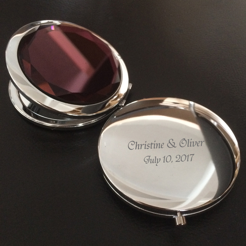 Personalized Round Stainless Steel/Chrome Compact Mirror (Sold in a single piece)