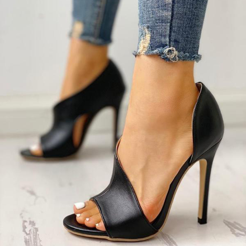 Women's PU Stiletto Heel Sandals Pumps Peep Toe With Others shoes