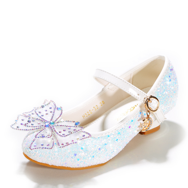 Girl's Closed Toe Microfiber Leather Low Heel Flower Girl Shoes With Bowknot