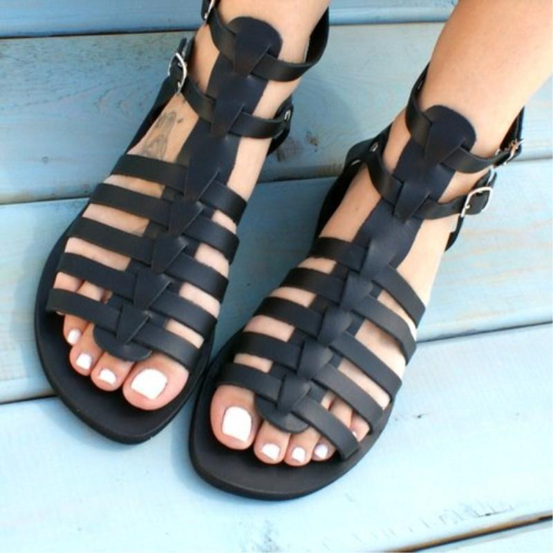 Women's Leatherette Flat Heel Sandals shoes